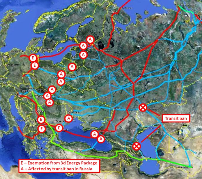 Mapa autorstwa M. Korczemkina. Pokazuje jak przesył z Rosji do Europy Zachodniej może zostać przekierowany w całości do Nord Stream i South Stream oraz ich odnóg. Tym samym zablokuje rury na terenie Europy Środkowo Wschodniej