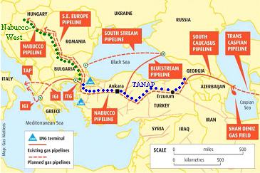 Południowy Korytarz Gazowy, źródło: Vestnik Kavkaza