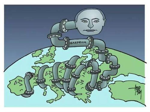 Rosyjska giełda przestaje tracić, bo w obawie przed szkodliwością dla interesów z Rosją, Europa nie wprowadza nowych sankcji po zestrzeleniu MH17 przez seperatystów. Polityka Gazpromu - karykatura z sieci