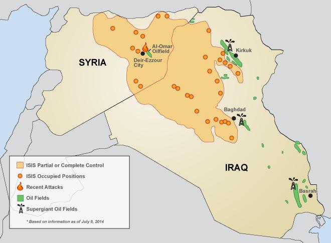Pola naftowe na terenie walk terrorystów z władzami Syrii i Iraku