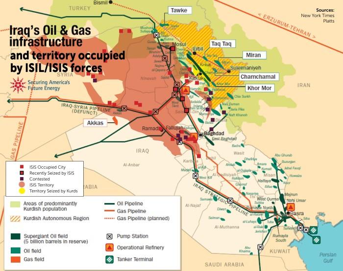 Złoża ropy naftowej w Iraku ogarniętym walkami  z ISIS