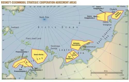 Koncesje objęte porozumieniem Exxon Mobil-Rosnieft. W obliczu sankcji USA wobec rosyjskiego sektora naftowego, Exxon musi wycofać się z Arktyki do 10 października 2014 roku.