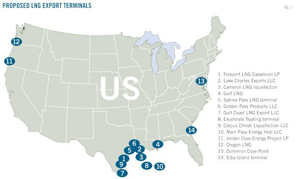 Proponowane terminale LNG w USA. Czy dostarczą gaz także do Polski?