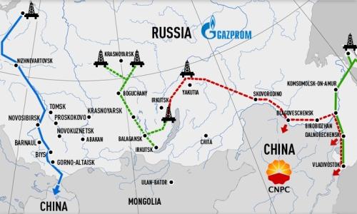 Dwa szlaki doprowadzenia gazu ziemnego z Rosji do Chin - zachodni i wschodni (w 2020 roku w jego ramach ma ruszyć gazociąg Siła Syberii)