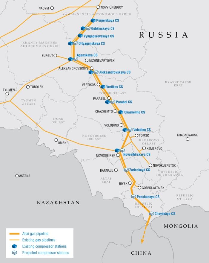 Projekt Gazociągu Ałtaj. Grafika: Gazprom.