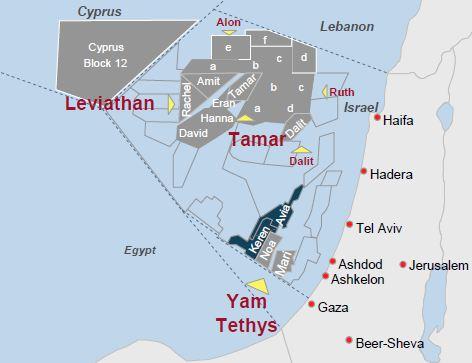 Złoża Tamar i Lewiatan u brzegów Izraela.