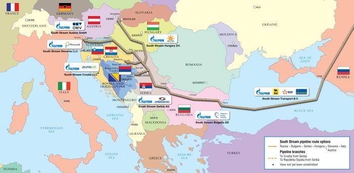 Najbardziej aktualny plan przebiegu South Stream (listopad 2014).