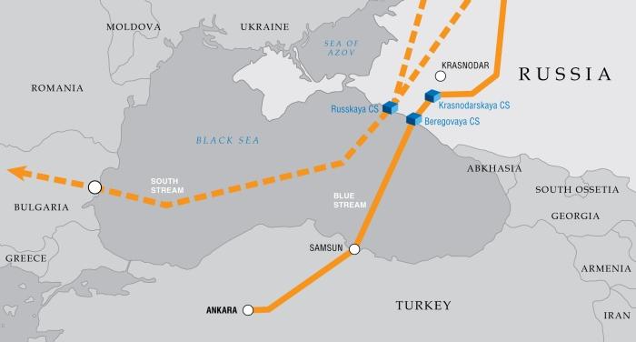 Blue Stream i South Stream. Grafika Gazpromu oznacza Krym jako własność Rosji.