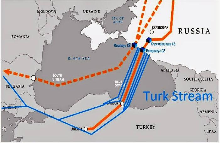 Turkish Stream. Rosyjska grafika błędnie oznacza Krym jako terytorium rosyjskie.