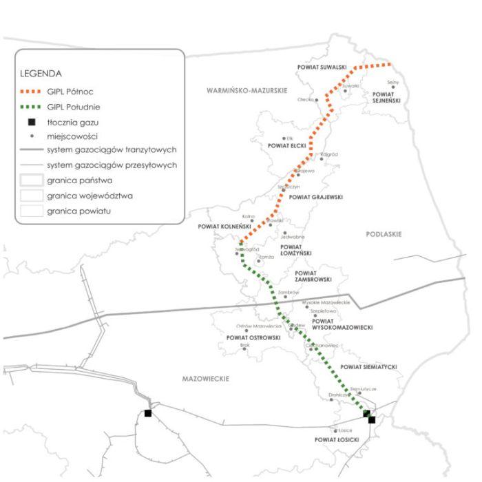 Gazociąg Polska Litwa, GIPL. Grafika: Gaz-System
