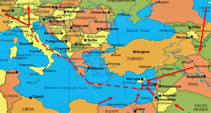 East Med. Gazociąg Śródziemnomorski. Fot. Wikimedia Commons
