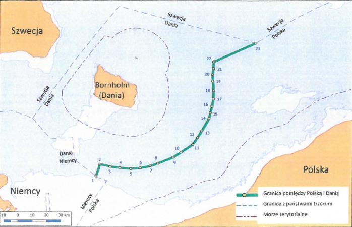 Rozgraniczenie szarej strefy pod Baltic Pipe. Grafika MSZ