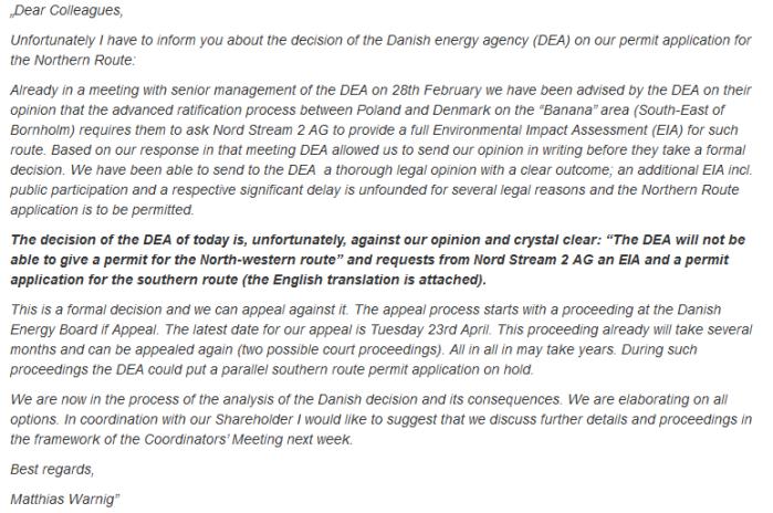 List Matthiasa Warniga z Nord Stream 2. Fot. autora
