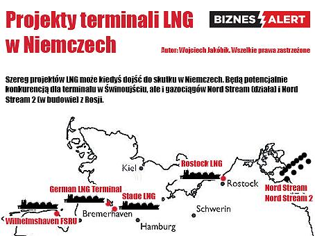Planowane terminale LNG w Niemczech. Grafika: Wojciech Jakóbik
