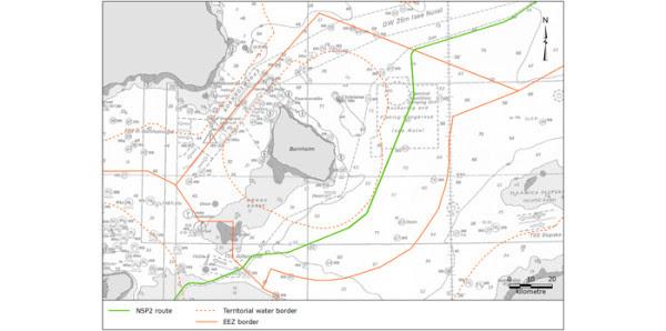Nord Stream 2 w Danii. Grafika: DEA