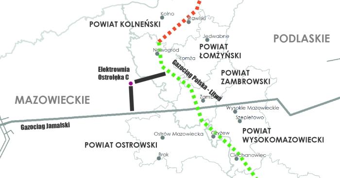 Gaz dla Elektrowni Ostrołęka C. Grafika: Gaz-System/Wojciech Jakóbik