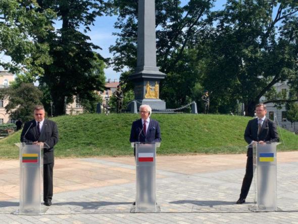 Ministrowie spraw zagranicznych Polski, Litwy i Ukrainy. Fot. MSZ Ukrainy