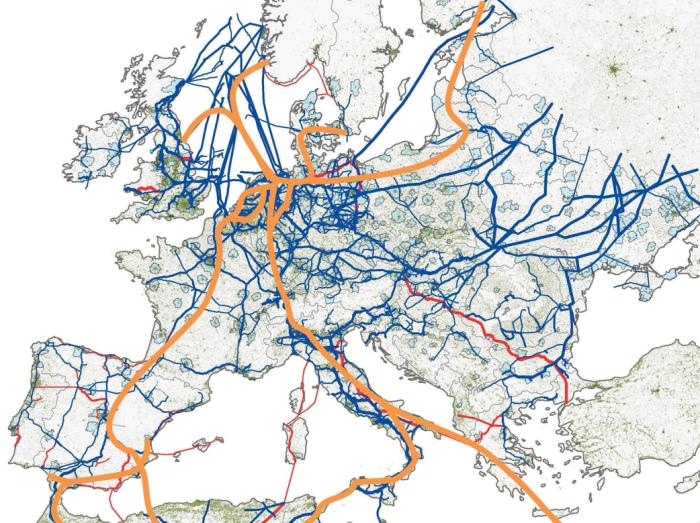 Potencjalna infrastruktura przesyłu wodoru w Europie autorstwa Hydrogen Europe bez Baltic Pipe i gazoportu. Grafika: Hydrogen Europe