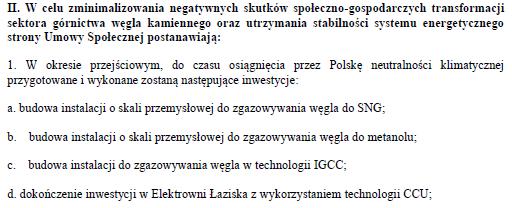 Fragment projektu umowy społecznej rządu z górnikami z 22 stycznia 2021 roku. Fot. Wojciech Jakóbik